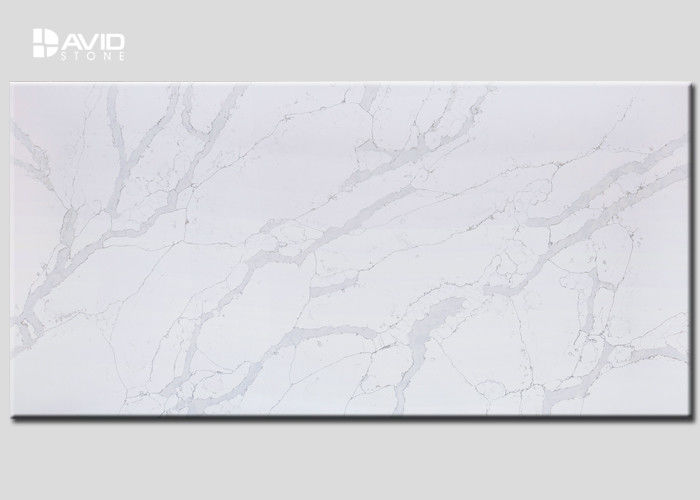 Calacatta Quartz Stone No Radiation , White Quartz Slabs Ideal for Countertops