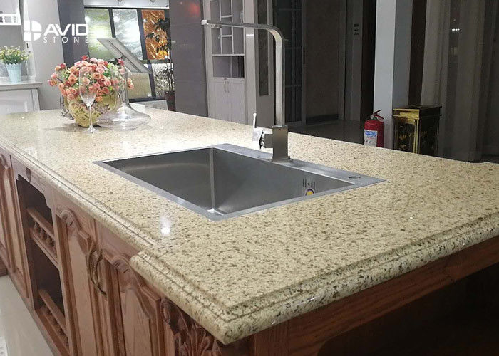 Vivid Beige Glossy Polished Sparkle Quartz Countertops Ogee Edge Good Color Consistency